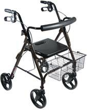 Black Aluminum Rollator w/ Removable Wheels