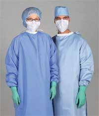 Blockade Surgeon Gowns Medium Ceil Blue Tie Neck & Back Closure