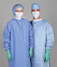 Blockade Surgeons Gown Large Ceil Blue Tie Neck Back Closure