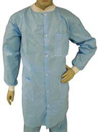 Blue Polypropylene Disposable Lab Coat