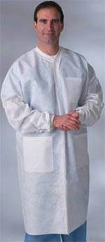 Disposable Lab Coats Knit Cuffs Blue