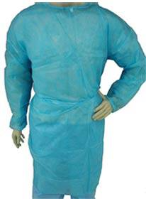 Blue Light Weight Polypropylene Isolation Gown