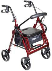 Burgundy Duet Transport Chairs and Rollator