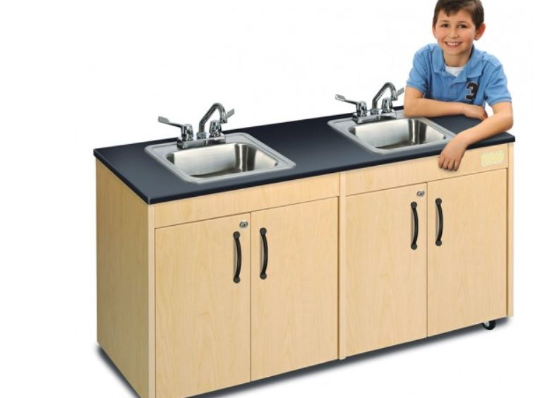 Child Height Portable Hand Wash Station w/ 2 Sinks