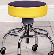 Chrome Base Stool w/ Multi-Color Top & Round Foot Ring