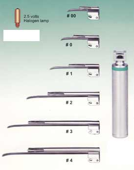 Combination Macintosh & Miller Laryngoscope Set - 8 Blades