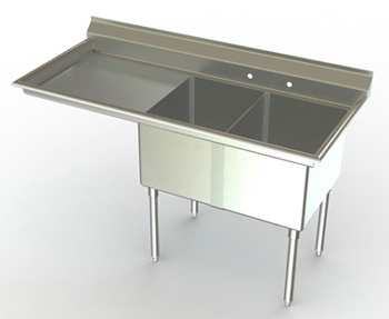 21in Wide Bowl Two Compartment Sink w/ Drainboard