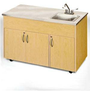 Deep Basin Portable Sink w/ Storage & Stainless Steel Top