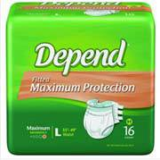 Large Depend Maximum Protection Briefs Easy Grip Tabs