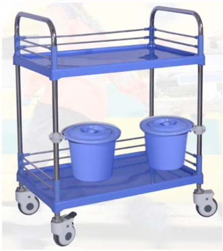 Dressing Trolley with Rail Mounted Storage Buckets