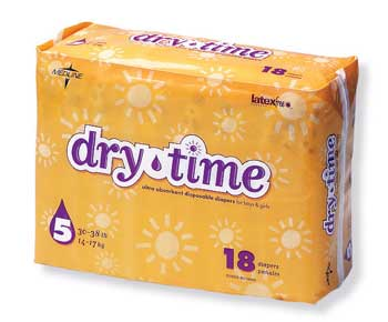 Dry Time Baby Diapers Size 5  30-38 lbs