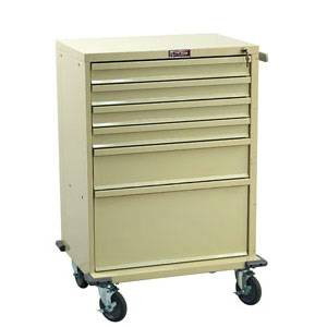 6-Drawer Medical Treatment Cart Key Lock
