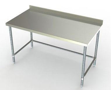 Economy 24in Wide Stainless Steel Work Table w/ 2 3/4in Backsplash