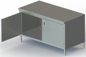 Enclosed 24in Wide Stainless Steel Work Table w/ Hinged Doors