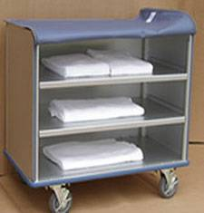 Enclosed Aluminum Linen Cart - 3 Shelf
