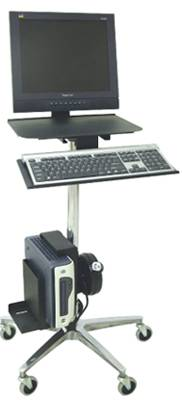 Ergonomic Rolling Computer Stand w/ Cord Reel
