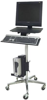 Ergonomic Rolling Computer Stand w/ Cord Wrap