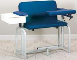 Extra-Tall & Wide Phlebotomy Chair w/ Flip-Arms & Drawer