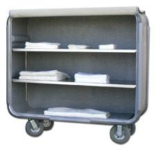 Fiberglass Enclosed Linen Cart - Dual Shelf