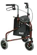 Flame Red 3-Wheel Aluminum Rollator