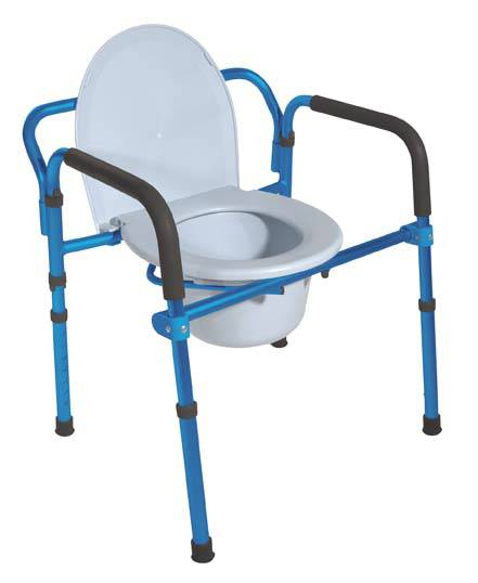 Folding Aluminum Commode w/Padded Armrests