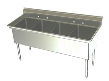 24in Wide Bowl Four Compartment Sink