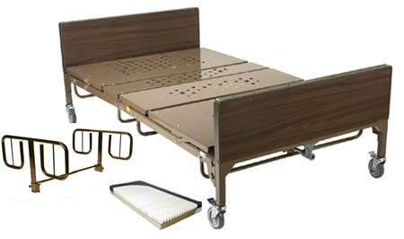 Full Electric Bariatric Hospital Bed Package w/ Two T Style Rails