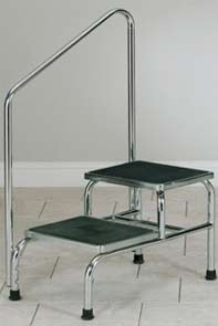 Heavy Duty, Chrome Plated Step Stool w/ Handrail
