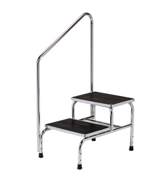 Heavy Duty, Chrome Plated Step Stool w/ Handrail