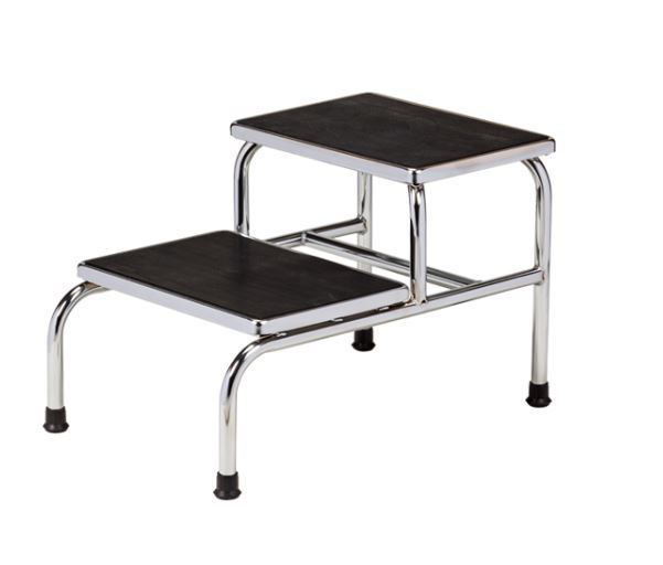 Heavy Duty Two Step Chrome Plated Step Stools