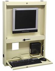 Heavy-Gauge Steel Wall Mounted Computer Station, 36in H
