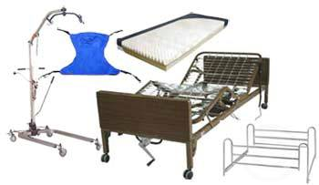 Hoyer Lift and Ultra Light Semi Electric Hospital Bed Package