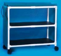 PVC Jumbo Linen Cart w/ 2 Shelves