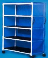 PVC Jumbo Linen Cart w/ 4 Shelves