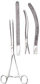 Kocher Intestinal Forceps 10-1/2 in, Straight, Longitudinal Serrations