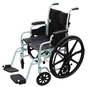 Lightweight 18in Transport Wheelchair Combo