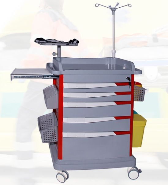 Lite Emergency Crash Cart with IV Pole