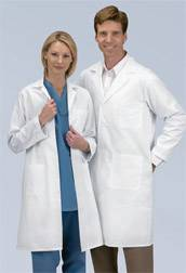 Mens Full Length Twill Ivory Lab Coat with Knot Buttons