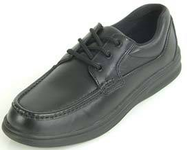 Mens Black Leather Hook  Loop Diabetic Shoes