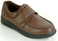 Womens Brown Leather Hook  Loop Diabetic Shoes