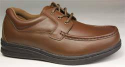 Mens Brown Leather Lace Diabetic Shoes