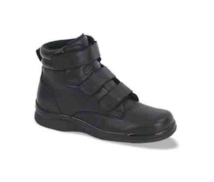 Mens Diabetic Triple-Strap Work Boot - Black