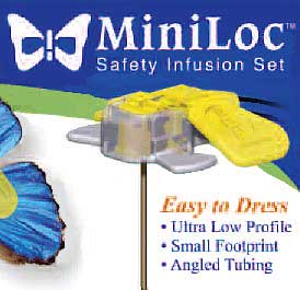 MiniLoc Safety Huber Infusion Set 20G 1 in.