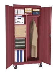 Mobile Combination Cabinet w/ Adj Shelves & Garment Rod