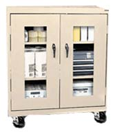 Mobile Display Door Storage Cabinet w/ Adj. Shelves