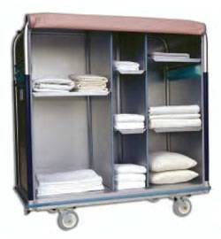 Multi-Compartment Aluminum Linen Cart - 30in W