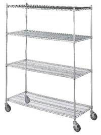 4 Shelf Wire Linen Transport Cart - 24in W