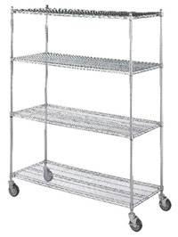 4 Shelf Wire Linen Transport Cart - 24in W