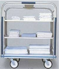 Open Aluminum Linen Cart - 24in W