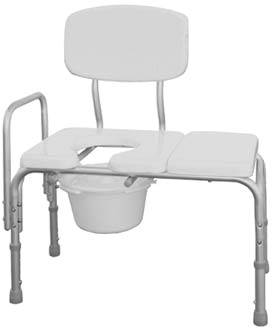 Padded Transfer Bench w/ Commode Seat